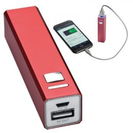 Power bank metalowy 2200 mAh PORT HOPE kolor czerwony